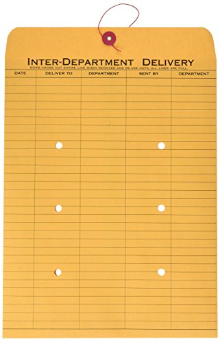 Quality Park Interoffice Envelopes (Quality Park 63563 Quality Park String-Tie Interoffice Envelopes, 1-Side Print,10x13,Kraft,100/Ctn)
