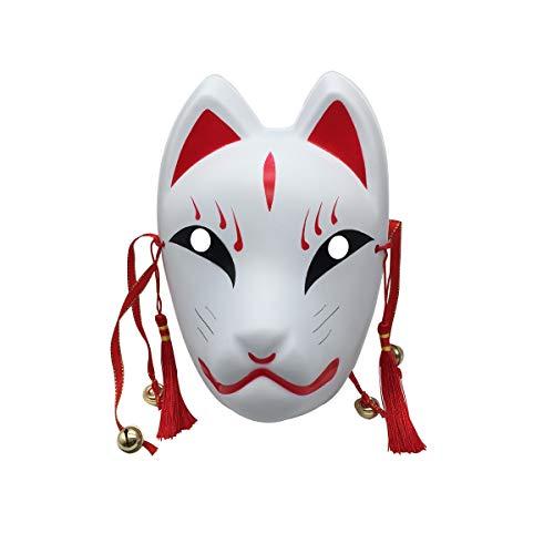 YangYong Fox Cosplay Mask for Masquerade Halloween, Japanese Kitsune Kabuki]()