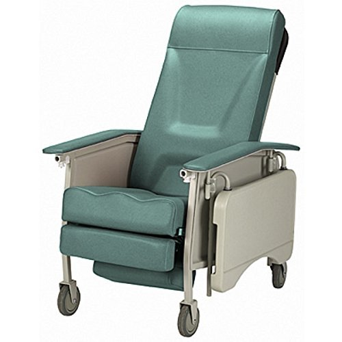 Deluxe Reclining 3 PosiThree Position Reclining Chair with Collapsible TV Table - Invacare 3 Position Geri Recliner - Jade -Easy Clean for Disability