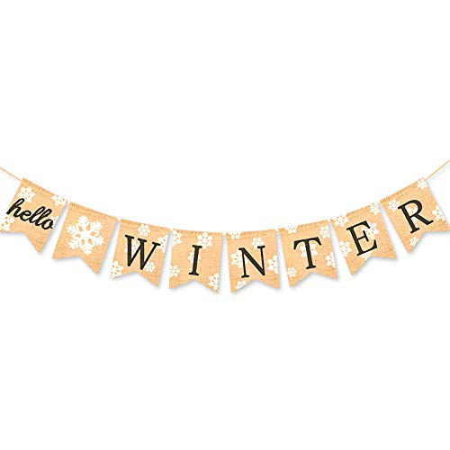 Rainlemon Jute Burlap Hello Winter Banner Snowflake Christmas Holiday Mantel Fireplace Bunting Garland Decoration for $<!--$9.99-->