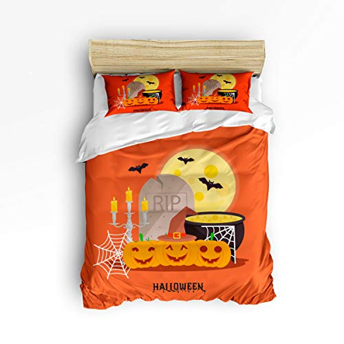 YEHO Art Gallery Full Size Cute 3 Piece Duvet Cover Sets for Boys Girls,Evil Halloween Pumpkin Lantern Orange Pattern,Decorative Bedding Set Include 1 Comforter Cover with 2 Pillow Cases for $<!--$105.31-->