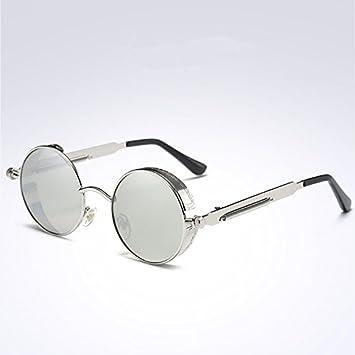 c1890e8774 VVIIYJ Gafas de sol con montura redonda Gafas de sol polarizadas con lente  redonda Steampunk Hombres