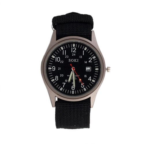 SOKI Reloj de pulsera de hombre de Deporte militar del ejercito de cuarzo Esfera Calendario Relojes Aleacion Negro: Amazon.es: Relojes