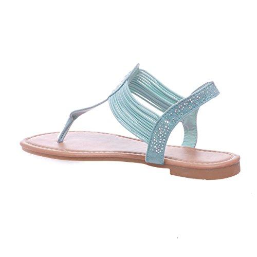 La Modeuse - Sandalias de vestir para mujer azul claro