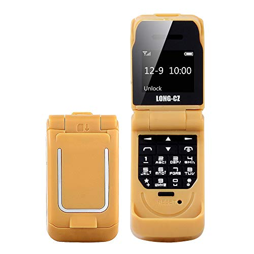 LONG-CZ J9 Latest Smallest Mini Flip Bluetooth Dialer with Voice Changer Mobile Cell Phone (Gold)