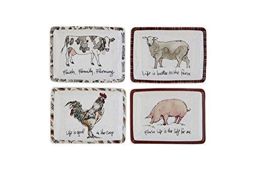 Creative Co-Op Farm Life Trinket Plates, Set of 4 -