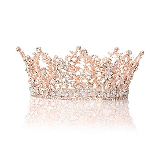 (Febou Baroque Tiara Crystal Rhinestone Crown Bridal Jewelry for Bride Women Wedding Prom Party(Rose)