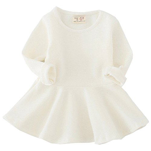 Csbks Toddler Baby Girls Long Sleeve Cotton Dress Solid Ruffle Tops 12 Months Beige
