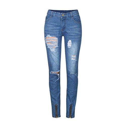 Slim Pantalones Vintage Casuales Con Motorista Hombre Denim LHWY Fit Tejanos De Vaqueros Rotos Vaqueros Cremallera qwzU0v