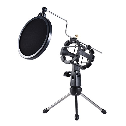 ammoon Desktop Microphone Tripod Stand Holder Bracket Supporter with Shock Mount Mic Holder for Broadcast Podcast Meeting Online Conference Chatting (201 Microphone Stand)