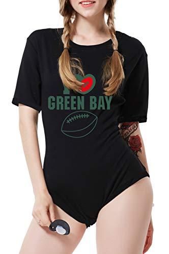 (LittleLittle Adult Baby Onesie ABDL Crotch Romper Onesie Adult Football Bodysuit,I Love Green Bay Onesie 2XL)