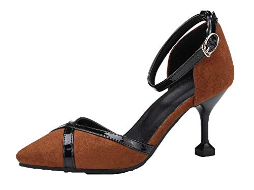 VogueZone009 Women Frosted Closed-Toe High-Heels Assorted Color Sandals, CCALP015300 Brown