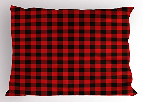 Ambesonne Plaid Pillow Sham, Lumberjack Fashion Buffalo Style Checks Pattern Retro Style with Grid Composition, Decorative Standard Size Printed Pillowcase, 26 X 20 Inches, Orange Black