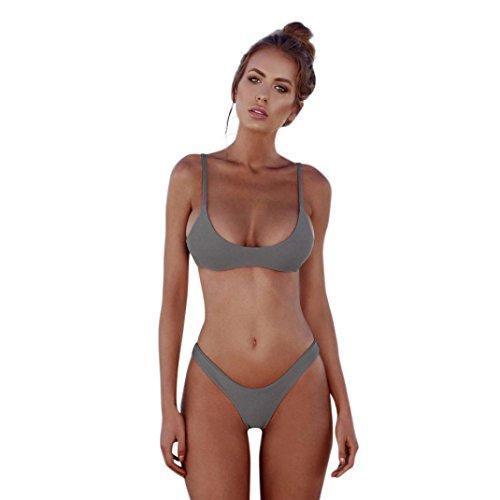 Morwind Donne Bendaggio Bikini Set Push-Up Costumi Da Bagno Brasiliano Bikini Set Push Up Swimwear Delle Donne Costume Da Bagno Donne Costume Da Bagno Grigio *