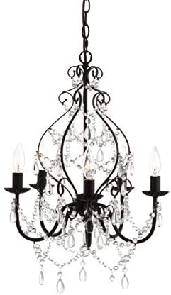 JONATHAN Y JYL9016A Maura 5-Light 17″ Crystal/Metal LED Chandelier Traditional,Contemporary,Transitional Dimmable