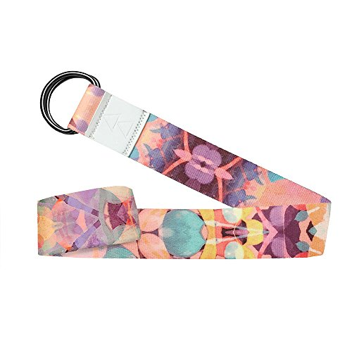 YOGA DESIGN LAB The Yoga Strap Luxurious, Extra Long, Super Soft, Eco Printed | Designed in Bali | Studio Quality, Adjustable | Safely Stretch Further and Hold Longer | 8 ft Long (Kaleidoscope)