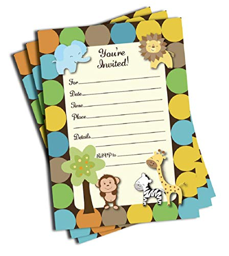 (50 Jungle Invitations and Envelopes (Large Size 5x7) - Baby Shower - Birthday Party - Any)
