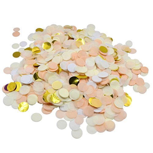 Mybbshower Gold Champagne Wedding Confetti 1 inch Tissue Paper Circles Pack of 5000