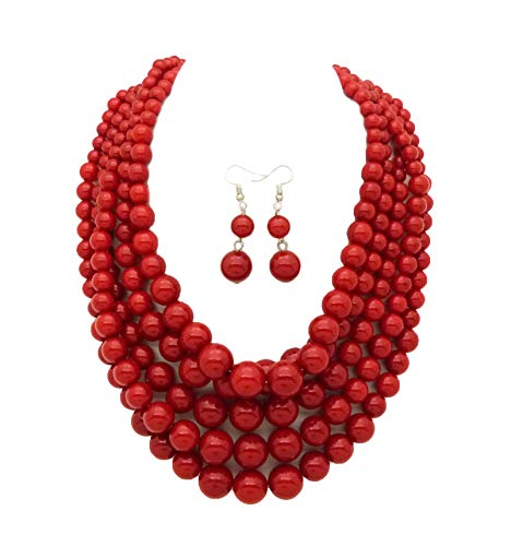 - Fashion 21 Women's Five Multi-Strand Simulated Pearl Statement Necklace and Earrings Set (Red)