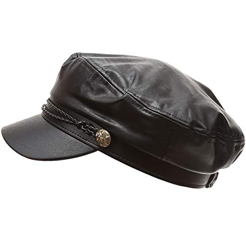 Ladies Hats Leather (MIRMARU Women's Classic Mariner Style Greek Fisherman's Sailor Newsboy Hats with Comfort Elastic Back (3035 Black))
