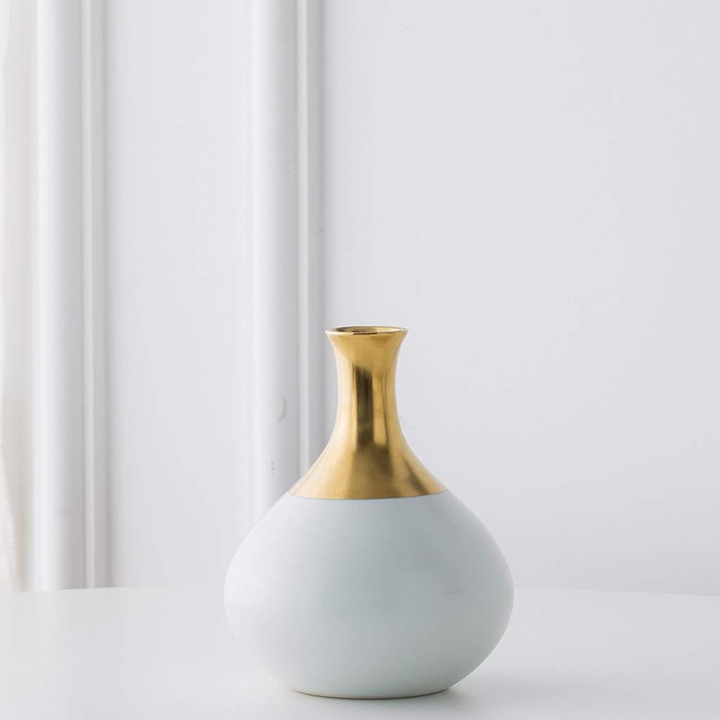 北欧スタイルセラミック細口花瓶装飾装飾リビングルームフラワーアレンジメント白磁ボトル SHWSM (Size : High 17.5CM) B07SPQQP6C  High 17.5CM