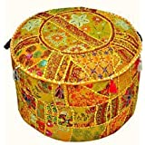"Indian Living Room Pouf, Foot Stool, Round Ottoman Cover Pouf,Traditional Handmade Decorative Patchwork Ottoman Cover,Indian Home Decor Cotton Cushion Ottoman Cover 18x15""inche (Yellow)"