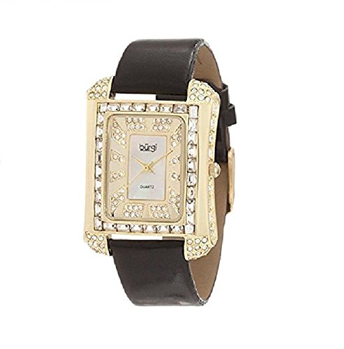 Burgi Women's BUR063YG Rectangular Mother-Of-Pearl Crystal Watch by Burgi