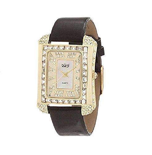 Burgi Women's BUR063YG Rectangular Mother-Of-Pearl Crystal Watch by Burgi