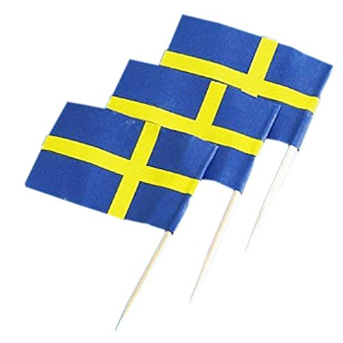 MagiDeal Pack of 50 Sweden Country Flag Picks Paper Toothpick Food Cupcake Cocktail (Sweden Country Flag)