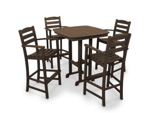 POLYWOOD La Casa Cafe 5-Piece Outdoor Bar Chair Set with Table Brown