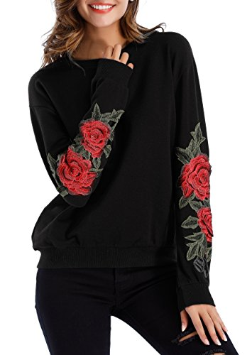 Embroidered Stretch Sweatshirt - ZJCT Womens Crew Neck Long Sleeve Top Floral Embroidered Pullover Sweatshirts Black L
