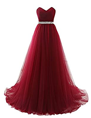 Yinyyinhs Women's Formal Evening Dress Beaded on The Waist Tulle Long Empire Prom Dresses