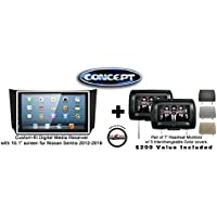 Concept FFMS-10L Custom-Fit Digital Media Receiver w/ 10.1 screen NIS-SEN-10 for Nissan Sentra (2012-2016) & Pair of CLS703 7 Headrest Monitors w/ 3 color covers & a FREE SOTS Air Freshener Included