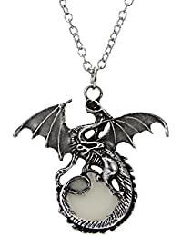 Steampunk Magical Fairy Glow in the Dark Dragon Pendant Necklace