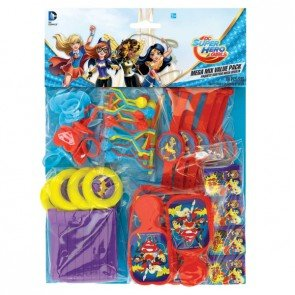 DC SuperHero Girl Mega Mix Value Pack Favors, (Comic Book Heroines Costumes)