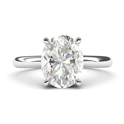 - 14k White Gold 8x10mm Simulated Oval-Cut Diamond Engagement Ring Domed Band Promise Bridal Ring (7.5)