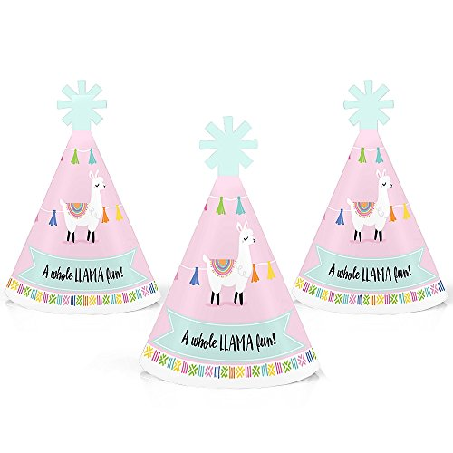 Whole Llama Fun - Mini Cone Llama Fiesta Baby Shower or Birthday Party Hats - Small Little Party Hats - Set of ()