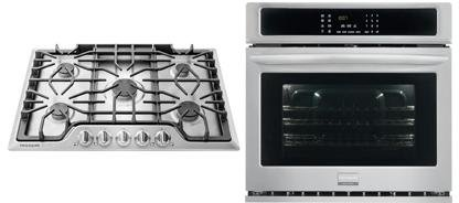 Frigidaire 2-Piece Kitchen Package with FGGC3047QS 30″ Gas Cooktop, and FGEW3065PF 30″ Electric Single Wall Oven in Stainless Steel