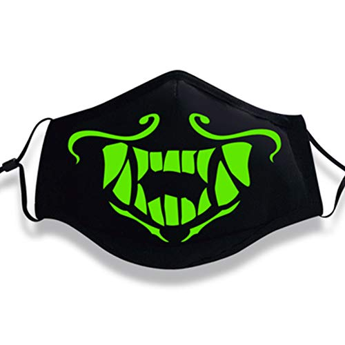 Shancon Cosplay Mouth Mask Mouth-Muffle Noctilucent Green Light Cotton Dustproof Black Winter Warm Adult Unisex Halloween 2018