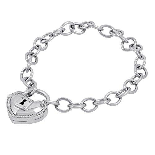 Locking Heart 1/10 CT. TW. Diamond Heart Shape Lock Charm Bracelet in Sterling Silver
