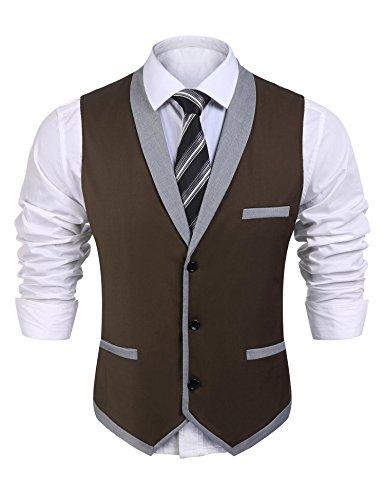 Coofandy Men's V-Neck Sleeveless Slim Fit Vest,Jacket Business Suit Dress Vest,Brown,Large Big And Tall V-neck Vest