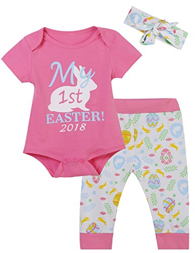 Catmama 3Pcs Baby Girls Outfit My First Easter Bunny Tops Pant Clothing Set (Pink, 6-12 Months)