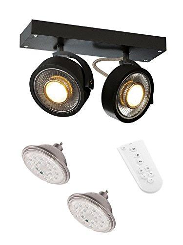 SLV LED Strahler Kalu Qpar 111 Dreh-und Schwenkbar Im Smart Set, Aluminium, GU10, 19 W, Schwarz, 30 x 9 x 18 cm, 4 Einheiten
