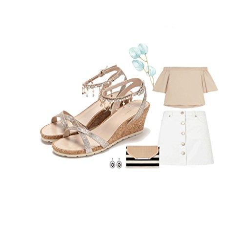 Elegant Lady High Heels Fashion Sequins Tassel High Heels Sandals Feet Bare Shoes (Color : Gold, Size : 38)