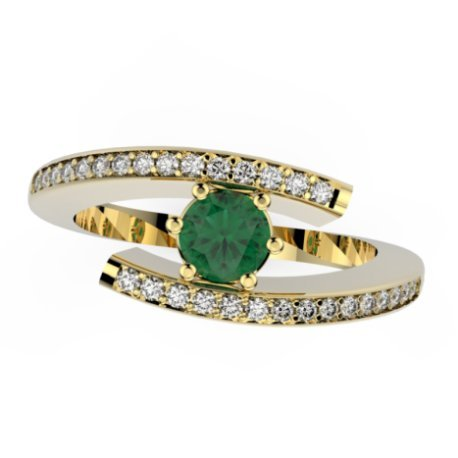 HABY P Bagues Or Blanc 18 carats Emeraude Vert 0,4 Rond