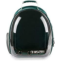 Pet Backpack Cat Carrier Transparent Outdoor Puppy Dog Carrier Breathable Cat Supplies Backpack for Cat,Green,32x28x42
