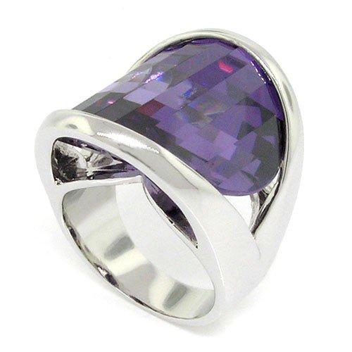 Rings : Amethyst Cocktail Ring (Aerodynamic, Mesmerizing Amethyst CZ Ring Size 7)