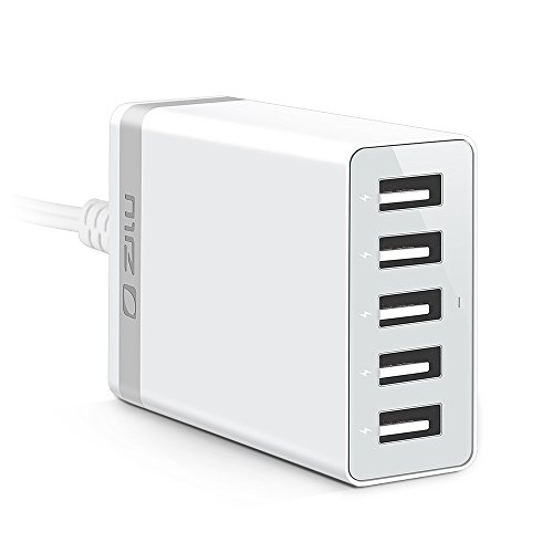 ZILU (40w 5-Port USB Charging Station) Multi-Port USB Charger Desktop Hub for iPhone, iPad, Samsung Galaxy and More (White) (Desktop Usb 5 Wall Port Charger)