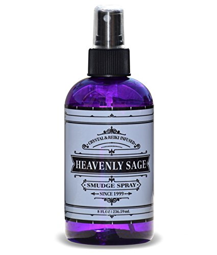 Heavenly Sage Sage Smudge Spray (8 FL OZ) Premium 100% Natural Sage, Juniper & Lavender Smudge Spray is Crystal & Reiki Infused, Energy Clearing, Purifying, Healing, Smokeless Alternative.
