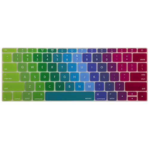 (MOSISO Silicone Keyboard Cover Protective Skin Compatible MacBook Pro 13 Inch 2017 & 2016 Release A1708 Without Touch Bar, New MacBook 12 Inch A1534, Blue and)